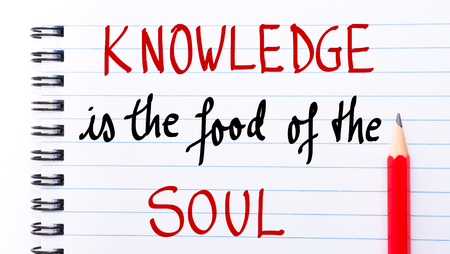 soul food: Knowledge is the Food of the Soul written on notebook page with red pencil on the right