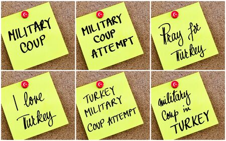 coup: Photo Collage of Turkey Military Coup concept over yellow paper note pinned on cork board