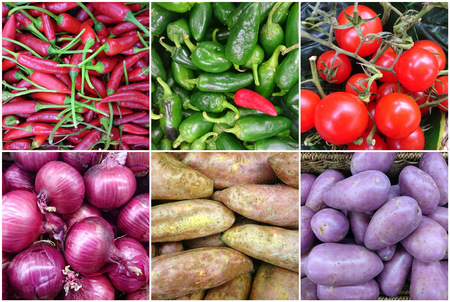 sweet potatoes: Photo Collage of fresh vegetables with red onion, red, capsicum, green capsicum, tomatoes, sweet potatoes and purple potatoes