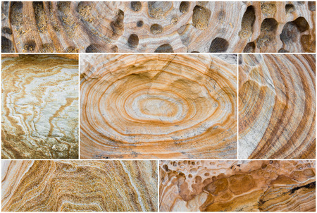 devonian: Photo Collage of various Australian rock formation background, sandstone texture with iron traces in australia, devonian stones