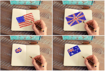 commonwealth: Photo collage of a woman hand drawing United States, Australia and United Kingdom flags with a fountain pen on notebook.