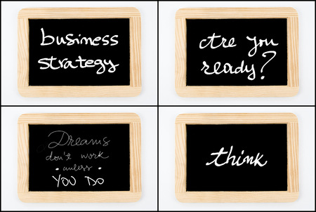 not ready: Photo collage of Wooden vintage chalkboard frames isolated on white with messages Business Strategy, Are You Ready, Dreams Do Not Work Unless You Do, Think