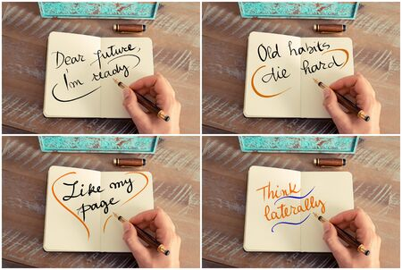 i am: Photo collage of handwritten motivational messages Dear Future I am Ready, Old Habits Die Hard, Like My Page, Think Laterally