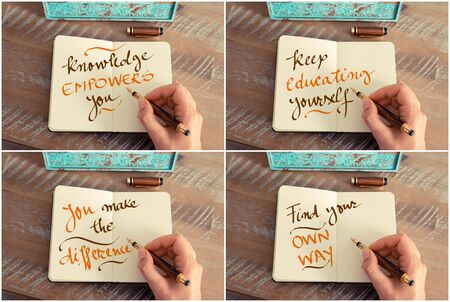 keep your hands: Photo collage of handwritten motivational messages Knowledge Empowers You, Keep Educating Yourself, You Make The Difference, Find Your Own Way Stock Photo