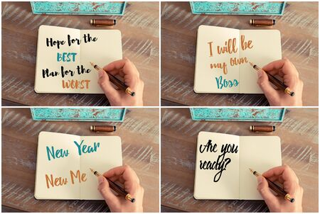 the worst: Photo collage of handwritten motivational messages Hope For The Best Plan For The Worst, I will Be My Own Boss, New Year New Me, Are You Ready ? Stock Photo