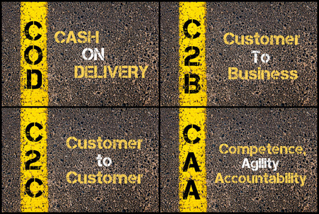 Photo collage of Business Acronyms written over road marking yellow paint line. COD, C2B, C2C, CAA