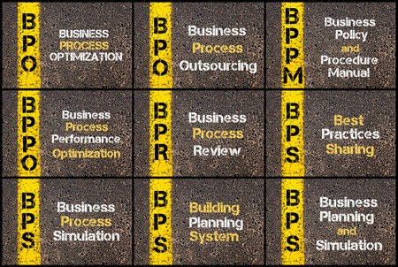 bps: Photo collage of Business Acronyms written over road marking yellow paint line. BPO, BPPM, BPPO, BPR, BPS