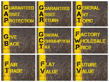 gb: Photo collage of Business Acronyms written over road marking yellow paint line. GAP, GAR, GAT, GB, GCT, FWP, FT, FV Stock Photo