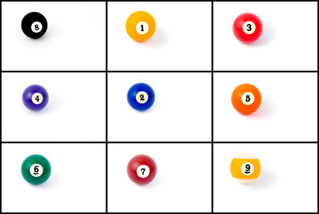 billard: Photo collage of billiard balls from one to nine isolated on white background