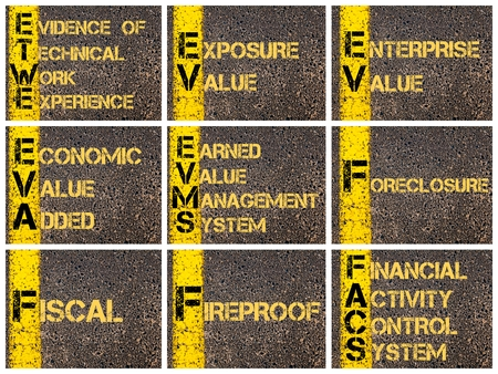 earned: Photo collage of Business Acronyms written over road marking yellow paint line. ETWE, EV, EVA, EVMS, FACS Stock Photo