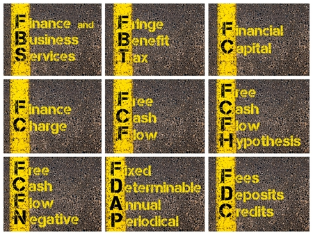 fringe benefit: Photo collage of Business Acronyms written over road marking yellow paint line. FBS, FBT, FC, FCF, FCFH, FCFN, FDAP, FDC