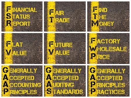 fv: Photo collage of Business Acronyms written over road marking yellow paint line. FSR, FT, FTM, FV, FWP, GAAP, GAAS, GAPP