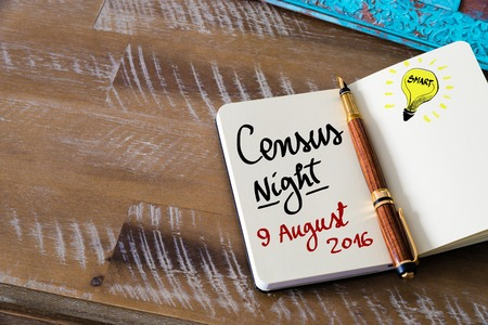 census: Census Night 9 August 2016, Australia written on notebook page Stock Photo