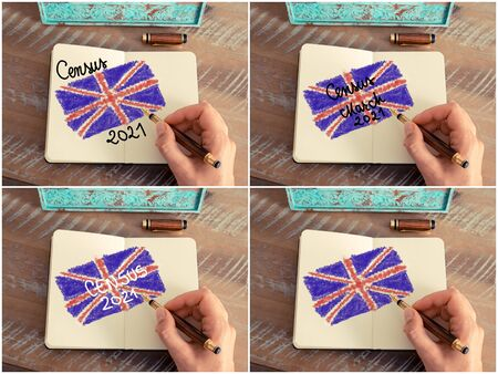 census: Concept image Census 2021 United Kingdom. Retro effect and toned image of a woman hand drawing the United Kingdom Flag with a fountain pen on notebook. Stock Photo