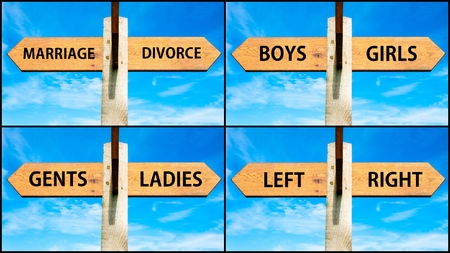 gent's: Photo collage of images with wooden signpost, two opposite arrows over clear blue sky, motivational concept. Mariagge versus Divorce, Boys Girls, Gents Ladies, Left Right