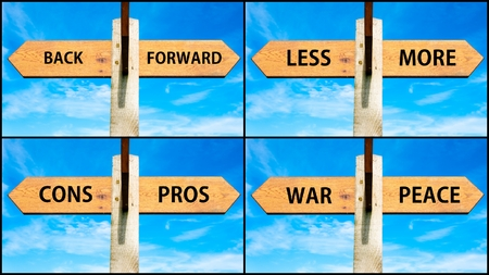 cons: Photo collage of images with wooden signpost, two opposite arrows over clear blue sky, motivational concept. Back Forward, Less More, Pros Cons, War Peace