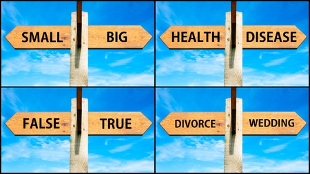 Photo collage of images with wooden signpost, two opposite arrows over clear blue sky, motivational concept. Small Big, Health Disease, False True, Divorce Wedding