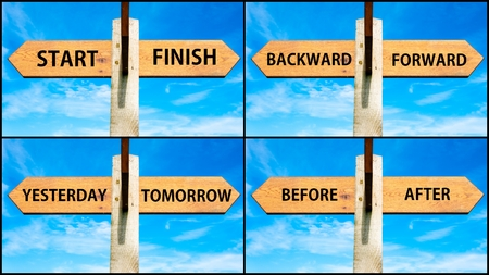 yesterday: Photo collage of images with wooden signpost, two opposite arrows over clear blue sky, motivational concept. Start versus Finish, Backward versus Forward, Yesterday Tomorrow, Before After Stock Photo