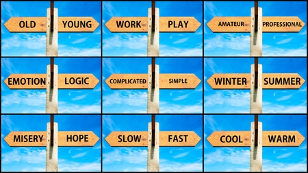 misery: Photo collage of images with opposite arrows. Old Young, Work Play, Amateur Professional, Emotion Logic, Complicated Simple, Winter Summer, Misery Hope, Slow Fast, Cool Warm