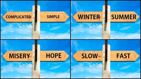 misery: Photo collage of images with wooden signpost, two opposite arrows over clear blue sky, motivational concept. Complicated versus Simple, Winter Summer, Misery Hope, Slow Fast