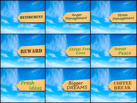 paz interior: Foto collage de im�genes con la flecha sobre el cielo azul, el concepto de motivaci�n. Retiro, manejo de la ira, la gesti�n del estr�s, recompensa, Zona libre de estr�s, la paz interior, fresco de las ideas, los sue�os m�s grandes, Coffee Break