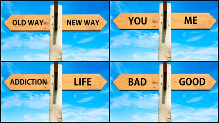 life is good: Photo collage of images with wooden signpost, two opposite arrows over clear blue sky, motivational concept. Old Way versus New Way, You Me, Addiction Life, Good Bad