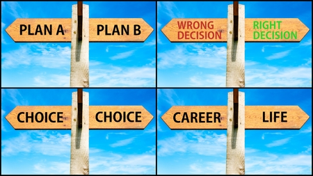 plan b: Photo collage of images with wooden signpost, two opposite arrows over clear blue sky, motivational concept. Plan A versus Plan B, Wrong Decision Right Decision, Choice, Career Life Stock Photo