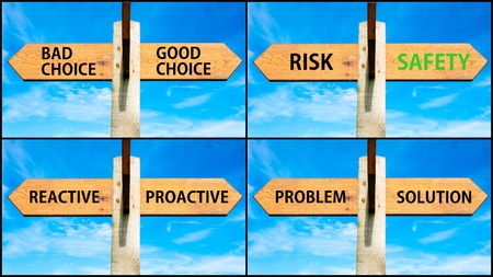 Photo collage of images with wooden signpost, two opposite arrows over clear blue sky, motivational concept. Bad Choice versus Good Choice, Risk Safety, Reactive Proactive, Problem Solution
