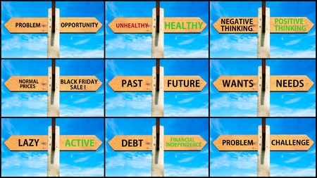 wants: Photo collage of images with opposite arrows. Problem Opportunity, Unhealthy Healthy, Negative Positive Thinking, Past Future, Wants Needs, Lazy Active, Debt, Financial Independence, Problem Challenge Stock Photo