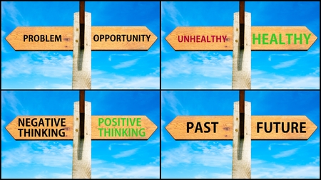 Photo collage of images with wooden signpost, two opposite arrows over clear blue sky, motivational concept. Problem versus Opportunity, Unhealthy Healthy, Negative Positive Thinking, Past Future Stock Photo