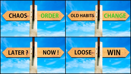 order chaos: Photo collage of images with wooden signpost, two opposite arrows over clear blue sky, motivational concept. Chaos Order, Old Habits Change, Later Now, Loose Win