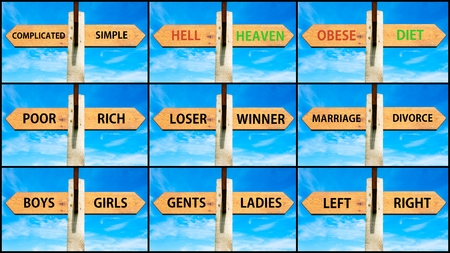 gent's: Photo collage of images with opposite arrows. Complicated Simple, Hell Heaven, Obese Diet, Poor Rich, Loser Winner, Mariagge Divorce, Boys Girls, Gents Ladies, Left Right Stock Photo