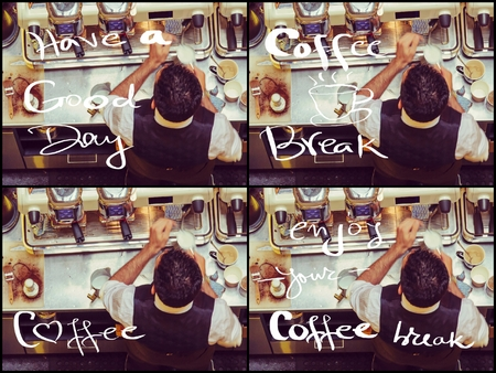 coffee machines: Photo collage of Barista and coffee machines at the bar, vintage filter applied. Various handwritten messages Have A Good Day, Coffee Break Stock Photo