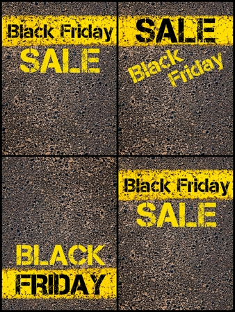 Photo collage of Retail Sales Conceptual images with Black Friday message written over road marking yellow paint line.