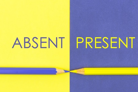 absent: Absent versus Present contrast concept . Yellow and Violet coloured pencils and paper.