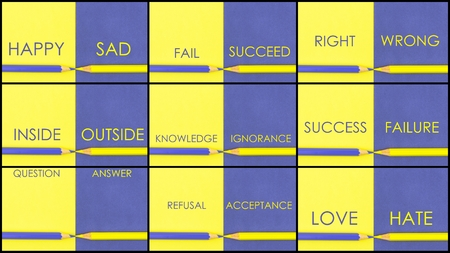 ignorance: Photo collage of CONTRAST concept over Yellow and Violet coloured paper. Happy Sad, Fail Succeed, Inside Outside, Knowledge Ignorance, Success Failure, Question Answer, Refusal Acceptance, Love Hate