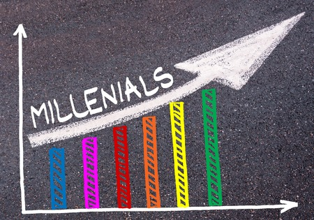 Colorful graph drawn over tarmac and word MILLENIALS with directional arrow, business design concept Stock Photo