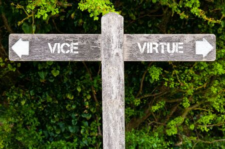 virtue: Wooden signpost with two opposite arrows over green leaves background. VICE versus VIRTUE directional signs, Choice concept image