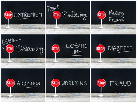 losing knowledge: Photo collage of STOP messages written on chalkboard. Mini STOP sign over chalkboard background and table, concept images