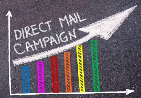 Direct mail campagne geschreven met krijt op asfalt over kleurrijke grafiek en stijgende pijl, business marketing en creativiteit concept