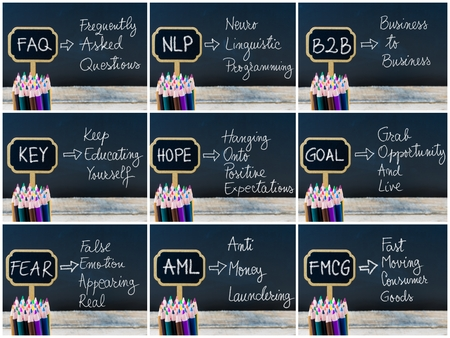 aml: Photo collage of business acronyms written with chalk on wooden mini blackboard labels and chalkboard background.