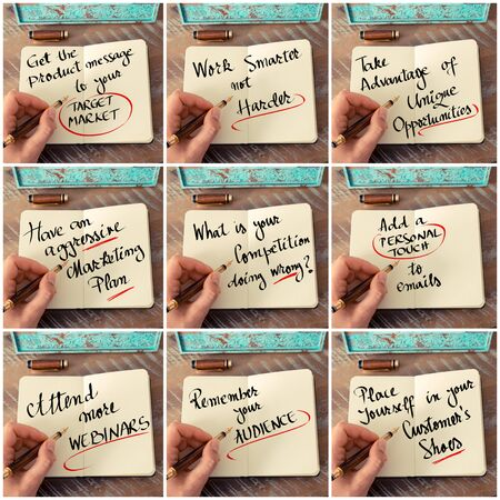 harder: Photo collage of handwritten business motivational messages. Retro effect and toned image of a woman hand writing a note with fountain pen on a notebook as business concept image.