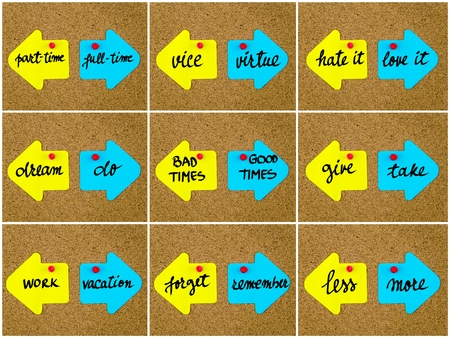 bad times: Photo collage of antonym concepts written on yellow and blue paper notes, opposite arrows pinned on cork board with thumbtacks. Choice conceptual image Stock Photo