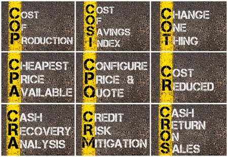 Photo collage of Business Acronyms written over road marking yellow paint line Stock Photo