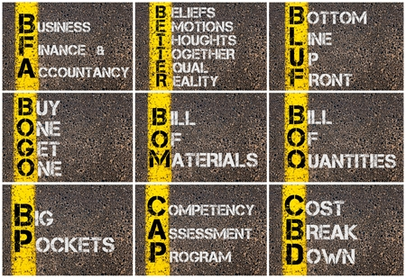 bogo: Photo collage of Business Acronyms written over road marking yellow paint line Stock Photo
