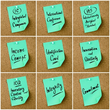 icq: Collage of Business Acronyms written on green paper note pinned on cork board with white thumbtack, copy space available