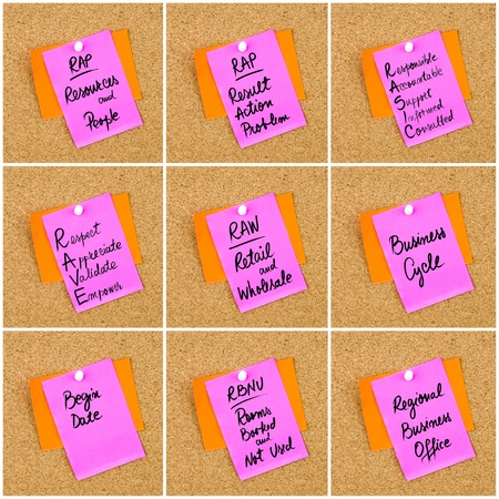 Collage of Business Acronyms written on paper note pinned on cork board with white thumbtack, copy space available