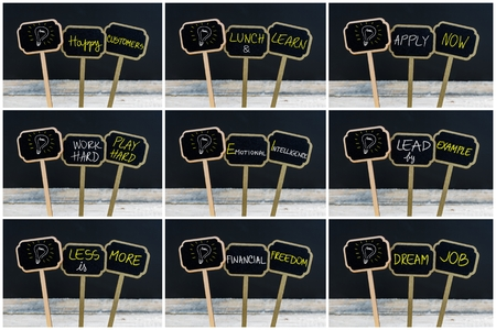 frame less: Photo collage of concept messages written with chalk on wooden mini blackboard labels and light bulb as symbol for idea, defocused chalkboard and wood table in background Stock Photo