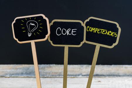 コンセプト メッセージ コアコンピタンスと背景に木のテーブル、多重黒板木製ミニ黒板ラベルにチョークで書かれたアイデアのシンボルとして電球
