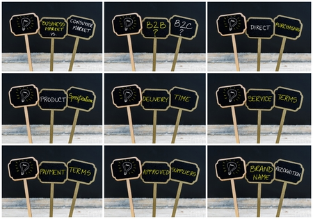 time specification: Photo collage of concept messages written with chalk on wooden mini blackboard labels and light bulb as symbol for idea, defocused chalkboard and wood table in background Stock Photo